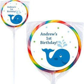 Preppy Blue Ocean Party Personalized Lollipops (pack of 12)