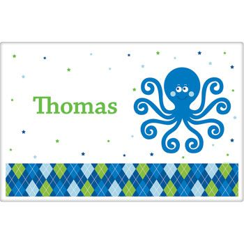 Preppy Blue Ocean Party Supplies Personalized Placemat (each) BB020243