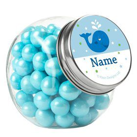 Preppy Blue Ocean Party Personalized Plain Glass Jars (12 Count)