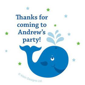 Preppy Blue Ocean Party Personalized Stickers (sheet of 12)