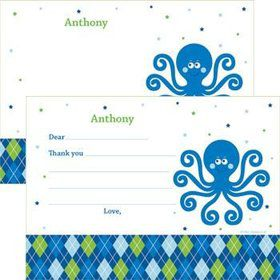 Preppy Blue Ocean Party Personalized Thank You Note (each)