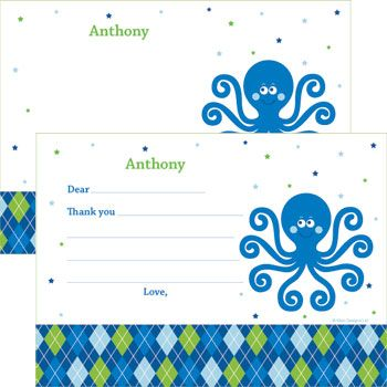 Preppy Blue Ocean Party Supplies Personalized Thank You Note (each) BB020246
