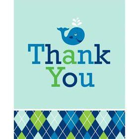Preppy Blue Ocean Party Thank You Notes (8-pack)