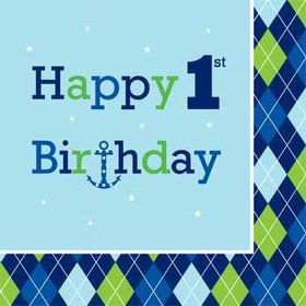 Preppy Boy 1st Birthday Napkin (16-pack)