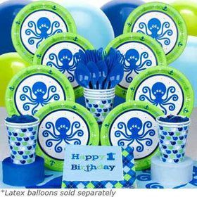 Preppy Boy 1st Birthday Party Deluxe Tableware Kit Serves 8