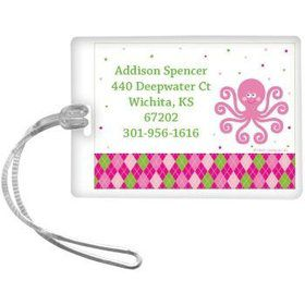 Preppy Pink Party Personalized Luggage Tag (each)