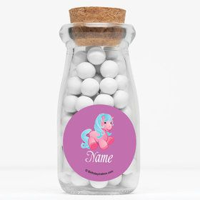 "Pretty Pony Personalized 4"" Glass Milk Jars (Set of 12)"