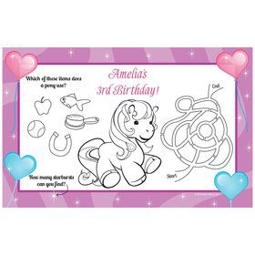 Pretty Pony Personalized Activity Mat (8 pack)