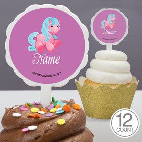 Pretty Pony Personalized Cupcake Picks (12 Count)