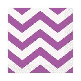Pretty Purple Chevron Beverage Napkins (16)