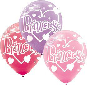 "Princess 12"" Latex Balloons (6 Pack)"