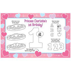 Princess 1st Birthday Personalized Activity Mat (8 pack)
