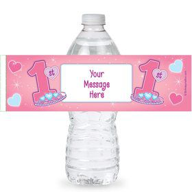 Princess 1st Birthday Personalized Bottle Labels (Sheet of 4)