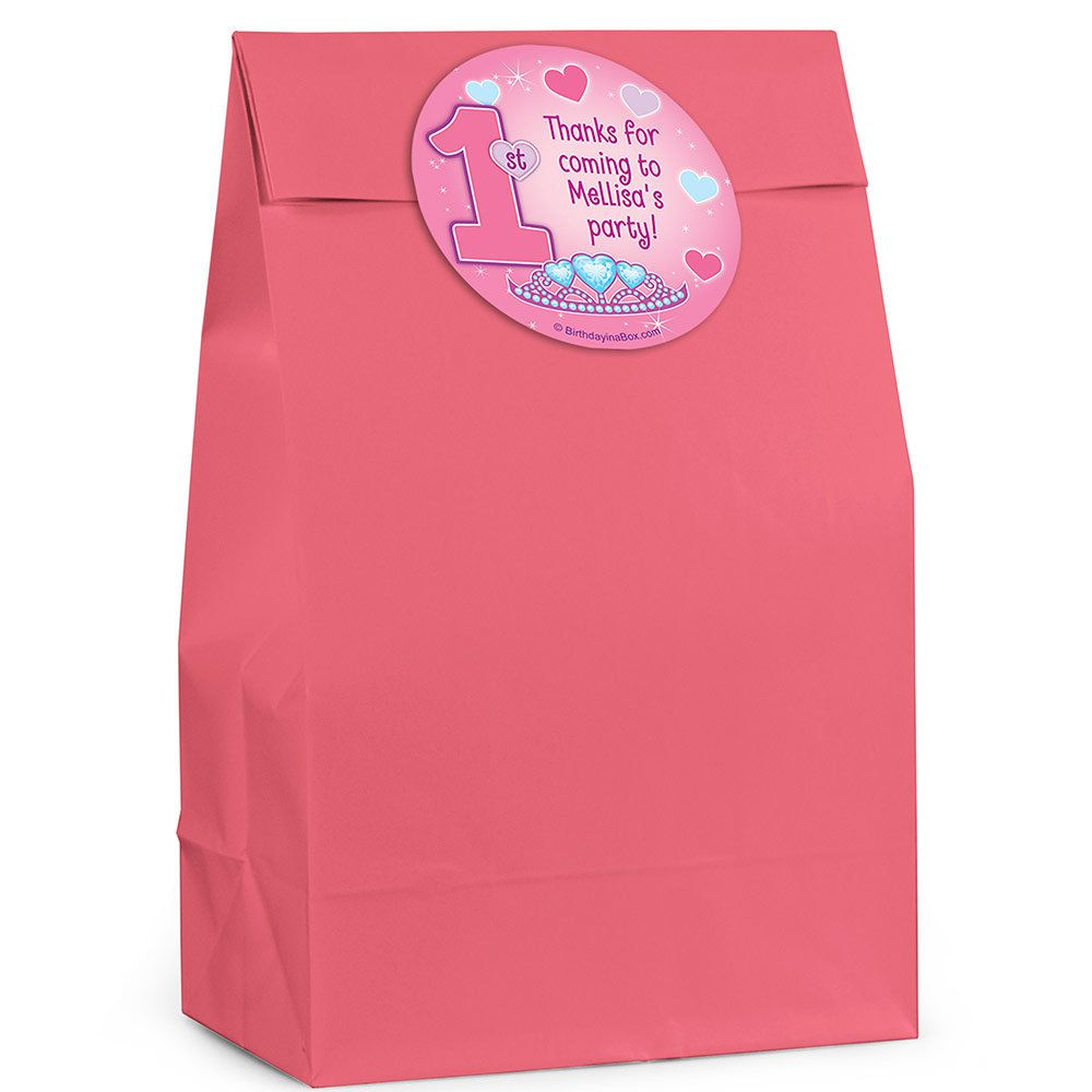 Personalized 1st Birthday Favor Boxes : Princess st birthday personalized favor bag