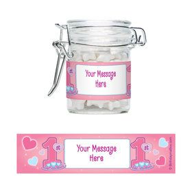 Princess 1St Birthday Personalized Glass Apothecary Jars (10 Count)