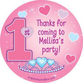 Princess 1st Birthday Personalized Sticker (sheet of 12)