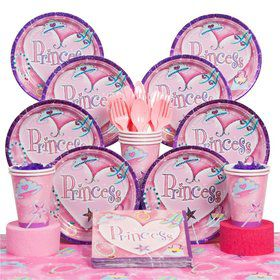 Princess Birthday Party Deluxe Tableware Kit Serves 8
