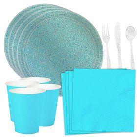 Prismatic Robin's Egg Blue Standard Tableware Kit (Serves 16)