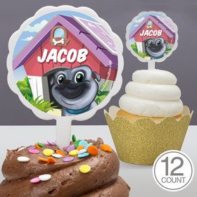 Pug Pals Personalized Cupcake Picks (12 Count)