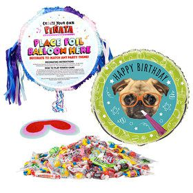 Pug Party Pull String Pinata Kit
