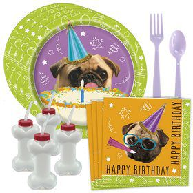 Pug Party Standard Tableware Kit With Dog Bone Cups (Serves 8)