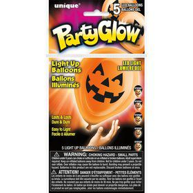 Pumpkin Face Light Up Balloon (5 Pack)