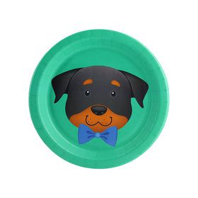 Puppy Dog Paw-ty Teal Rottweiler Dessert Plate (8)