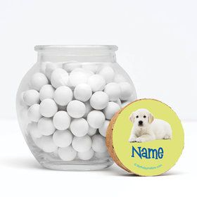 """Puppy Party Personalized 3"""" Glass Sphere Jars (Set of 12)"""