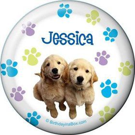 Puppy Party Personalized Button (each)