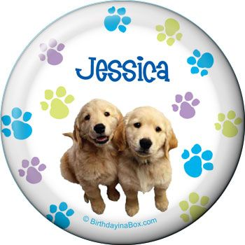 Puppy Party Personalized Button (Each) BB005824