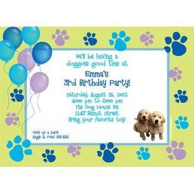 Puppy Party Personalized Invitation (each)