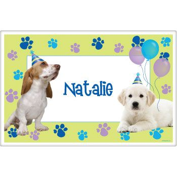 Puppy Party Supplies Personalized Placemat (each) BB017456