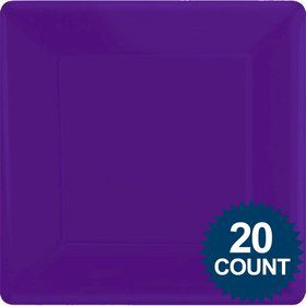 "Purple 10"" Dinner Square Paper Plates (20 Pack)"