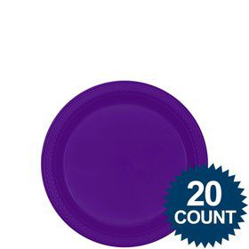 "Purple 7"" Plastic Cake Plates (20 Pack)"
