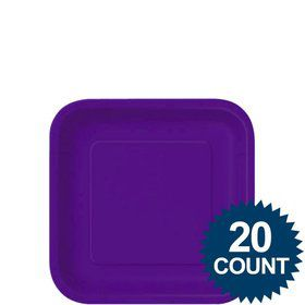"Purple 7"" Square Paper Cake Plates (20 Pack)"