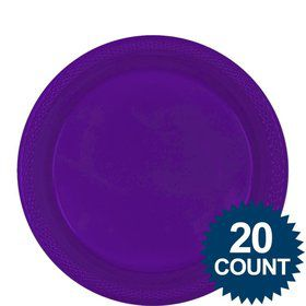 "Purple 9"" Plastic Luncheon Plates (20 Pack)"