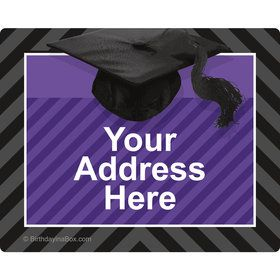 Purple Caps Off Graduation Personalized Address Labels (Sheet of 15)