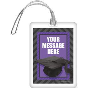 Purple Caps Off Graduation Personalized Bag Tag (Each)