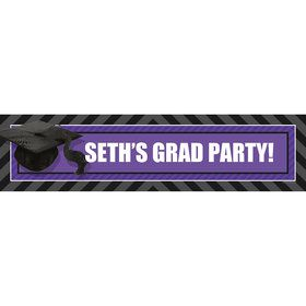 Purple Caps Off Graduation Personalized Banner (Each)