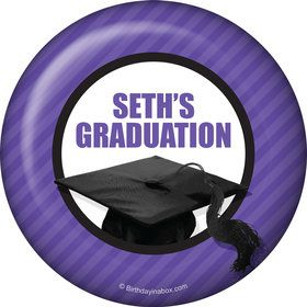 Purple Caps Off Graduation Personalized Button (Each)