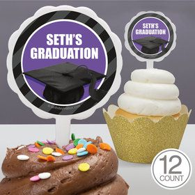 Purple Caps Off Graduation Personalized Cupcake Picks (12 Count)