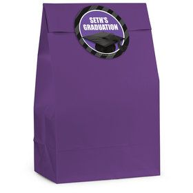 Purple Caps Off Graduation Personalized Favor Bag (12 Pack)