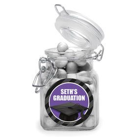 Purple Caps Off Graduation Personalized Glass Apothecary Jars (10 Count)