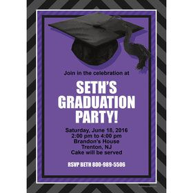Purple Caps Off Graduation Personalized Invitation (Each)