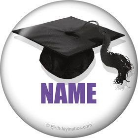 Purple Caps Off Graduation Personalized Mini Magnet (Each)