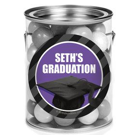 Purple Caps Off Graduation Personalized Mini Paint Cans (12 Count)
