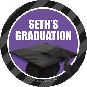 Purple Caps Off Graduation Personalized Mini Stickers (Sheet of 20)