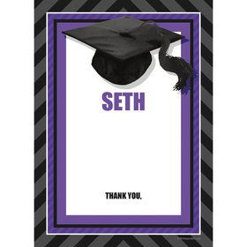 Purple Caps Off Graduation Personalized Thank You (Each)