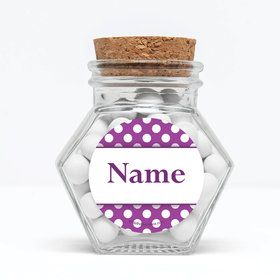 "Purple Dots Personalized 3"" Glass Hexagon Jars (Set of 12)"