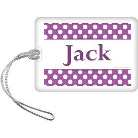 Purple Dots Personalized Bag Tag (Each)